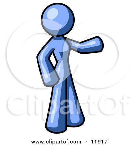 Blue Woman With One Arm Out Clipart Illustration by Leo Blanchette