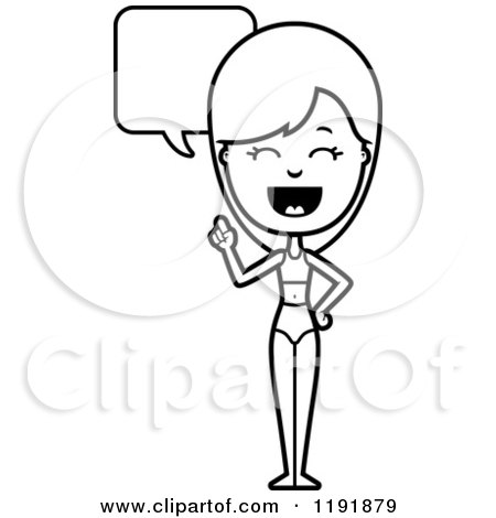 Cartoon of a Black and White Talking Woman in a Swimsuit - Royalty Free Vector Clipart by Cory Thoman