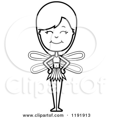 Cartoon of a Black and White Happy Fairy - Royalty Free Vector Clipart by Cory Thoman