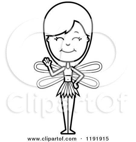 Cartoon of a Black and White Waving Fairy - Royalty Free Vector Clipart by Cory Thoman