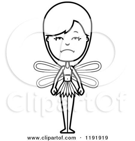 Cartoon of a Black and White Depressed Fairy - Royalty Free Vector Clipart by Cory Thoman