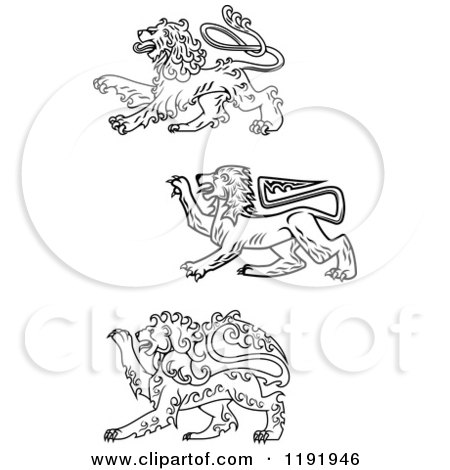 Clipart of Black and White Royal Heraldic Lions - Royalty Free Vector Illustration by Vector Tradition SM