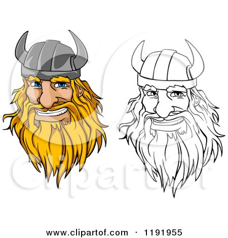 Cartoon of Happy Blond and Outlined Male Viking Warrrior Face with a Helmet and Beard - Royalty Free Vector Clipart by Vector Tradition SM