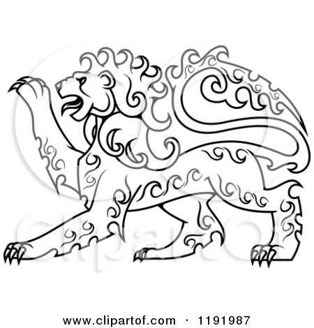 Clipart of a Black and White Curly Haired Royal Heraldic Lion 2 - Royalty Free Vector Illustration by Vector Tradition SM