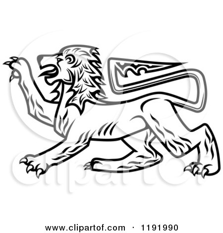 Clipart of a Black and White Royal Heraldic Lion - Royalty Free Vector Illustration by Vector Tradition SM