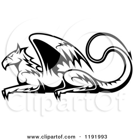 Clipart of a Black and White Resting Griffin 2 - Royalty Free Vector Illustration by Vector Tradition SM
