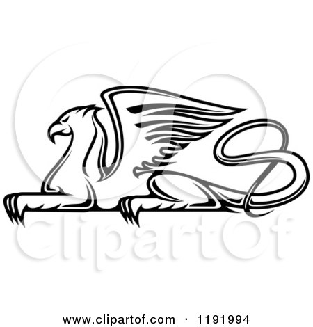 Clipart of a Black and White Resting Griffin - Royalty Free Vector Illustration by Vector Tradition SM