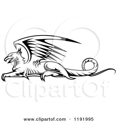Clipart of a Black and White Resting Griffin 3 - Royalty Free Vector Illustration by Vector Tradition SM