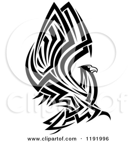 Clipart of a Black and White Flying Tribal Eagle Falcon or Hawk - Royalty Free Vector Illustration by Vector Tradition SM