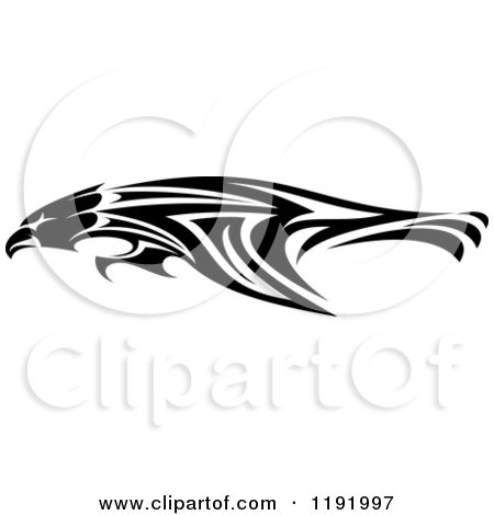 Clipart of a Black and White Flying Tribal Eagle Falcon or Hawk 3 - Royalty Free Vector Illustration by Vector Tradition SM