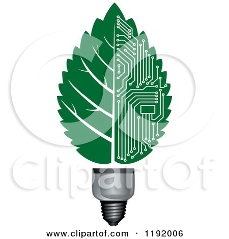 Clipart of a Light Bulb with a Green Vein Leaf and Circuits - Royalty Free Vector Illustration by Vector Tradition SM