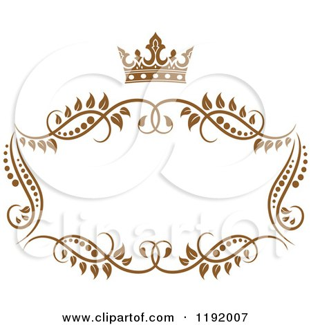 Clipart of a Golden Floral Frame with a Crown - Royalty Free Vector Illustration by Vector Tradition SM