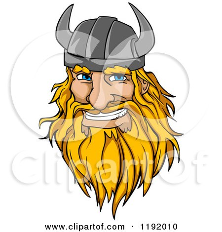 Cartoon of a Happy Blond Male Viking Warrrior Face with a Helmet and Beard - Royalty Free Vector Clipart by Vector Tradition SM