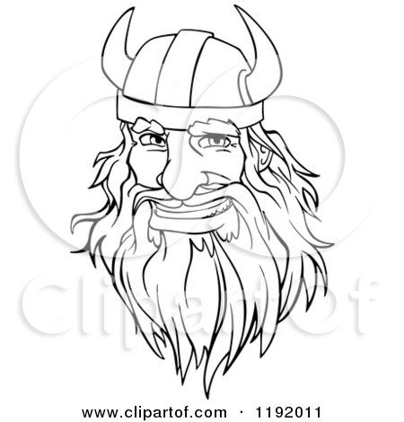 Cartoon of a Happy Black and White Male Viking Warrrior Face with a Helmet and Beard - Royalty Free Vector Clipart by Vector Tradition SM