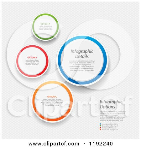 Clipart of Colorful Infographic Circles with Sample Text over Mesh - Vector File And Experience Recommended - Royalty Free Vector Illustration by elaineitalia