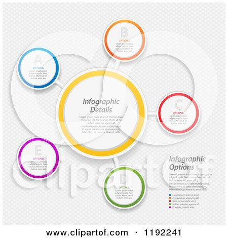 Clipart of Infographic Networked Circles with Sample Text over Mesh - Vector File And Experience Recommended - Royalty Free Vector Illustration by elaineitalia