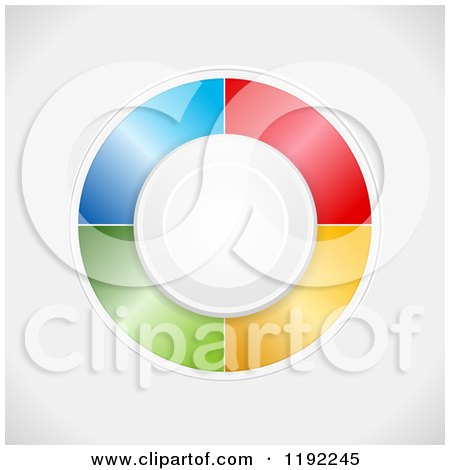 Clipart of a Circle Button and Colorful Panels in a Circle Around It, on Shading - Royalty Free Vector Illustration by elaineitalia