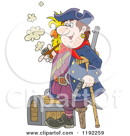 Cartoon of a Happy Peg Legged Pirate with a Parrot, Smoking a Pipe by a Treasure Chest - Royalty Free Vector Clipart by Alex Bannykh