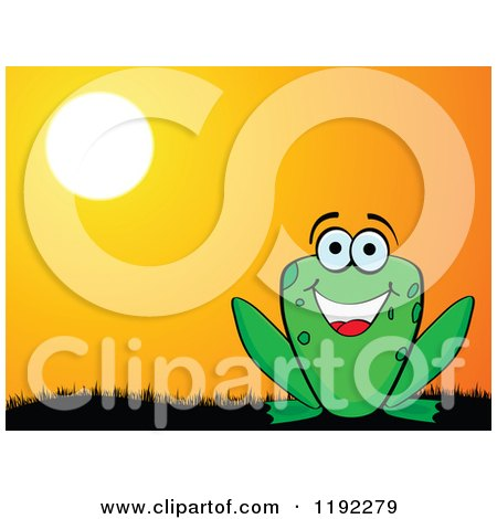 Clipart of a Happy Frog Against a Sunset - Royalty Free Vector Illustration by Andrei Marincas