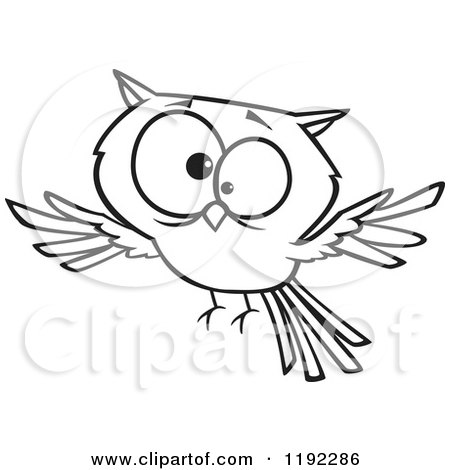 Cartoon Black and White Line Art of a Cross Eyed Owl Flying - Royalty Free Vector Clipart by toonaday