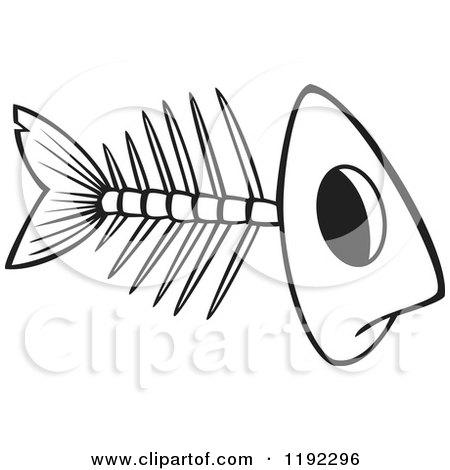 Cartoon Of A Grayscale Fish Bone Skeleton Royalty Free