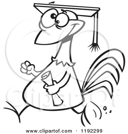 Cartoon Black and White Line Art of a Proud Chicken Graduate Walking with a Cap and Diploma - Royalty Free Vector Clipart by toonaday