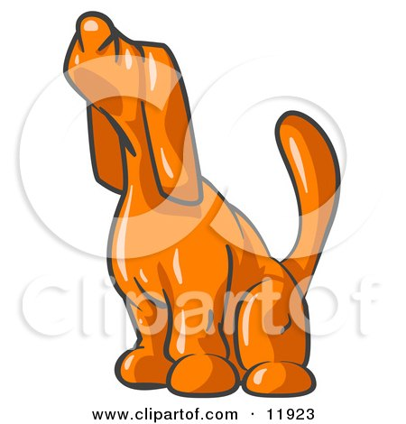 Scared Orange Tick Hound Dog Sniffing the Air Clipart Illustration by Leo Blanchette