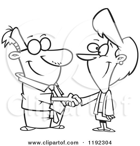 Black and White Line Art of a Business Man and Woman Shaking Hands Posters, Art Prints