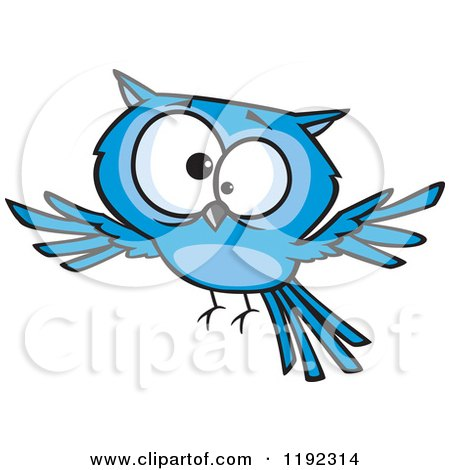 Cartoon of a Cross Eyed Blue Owl Flying - Royalty Free Vector Clipart by toonaday