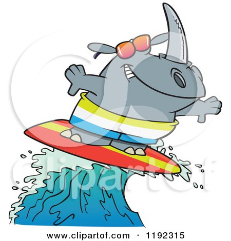 Cartoon of a Surfing Rhino Riding a Wave - Royalty Free Vector Clipart by toonaday