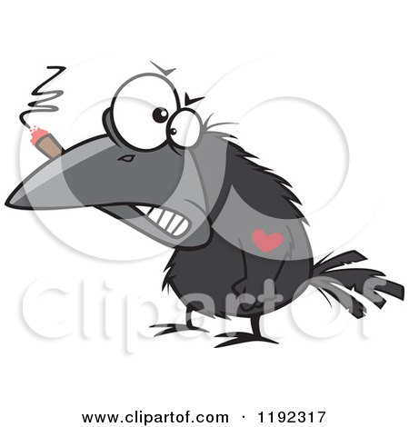 Cartoon of a Tough Crow Smoking a Cigar and Sporting a Heart Tattoo - Royalty Free Vector Clipart by toonaday