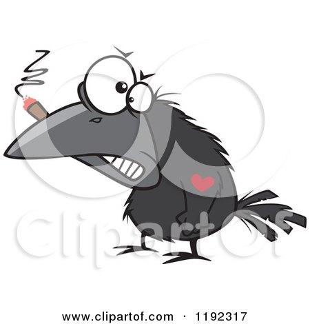 Tough Crow Smoking a Cigar and Sporting a Heart Tattoo Cartoon Posters, Art Prints