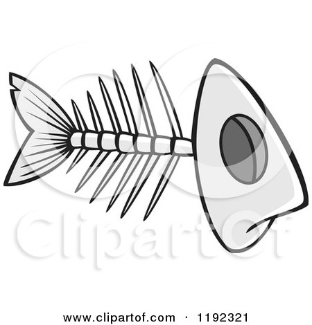 Cartoon of a Grayscale Fish Bone Skeleton - Royalty Free Vector Clipart by toonaday