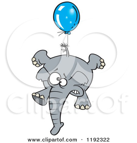 Cartoon of a Scared Elephant Floating with a Blue Balloon - Royalty Free Vector Clipart by toonaday