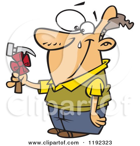 Cartoon of a Happy Man Shedding a Tear Over a Hammer Gift on Fathers Day - Royalty Free Vector Clipart by toonaday