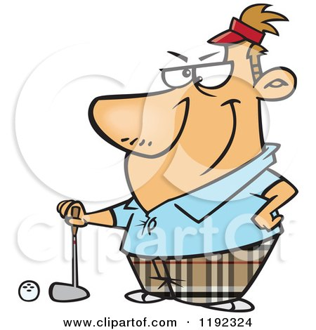Cartoon Of A Serious Golfer Man Posing Royalty Free Vector Clipart
