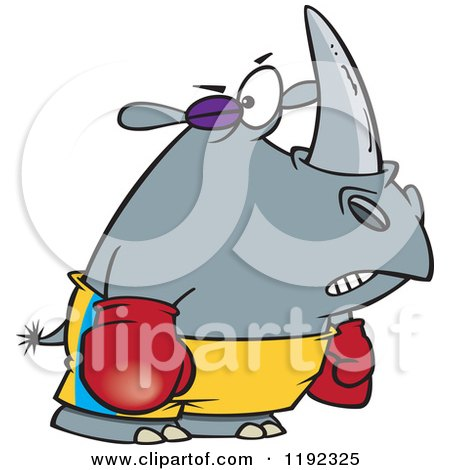 Cartoon of a Boxer Rhino with a Black Eye - Royalty Free Vector Clipart by toonaday