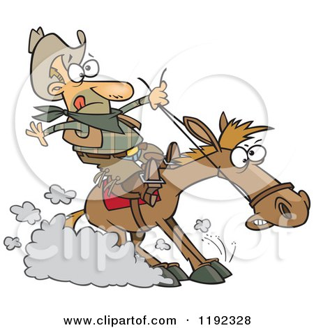 Cartoon of a Cowboy Hitting the Horse Brakes - Royalty Free Vector Clipart by toonaday