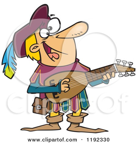 Cartoon of a Happy Minstrel Playing an Instrument - Royalty Free Vector Clipart by toonaday