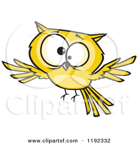 Cartoon of a Cross Eyed Yellow Owl Flying - Royalty Free Vector Clipart by toonaday
