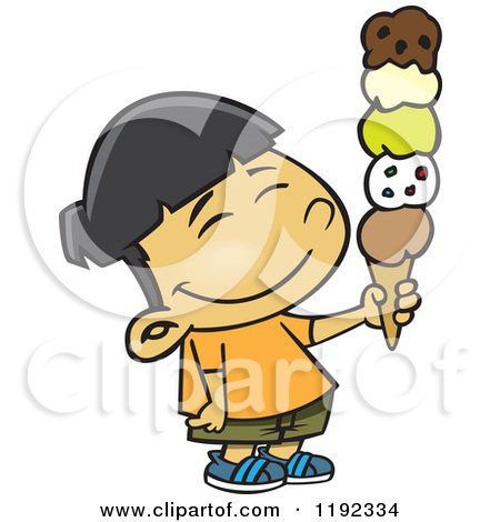 Cartoon of a Happy Asian Boy Holding a 5 Scoop Waffle Ice Cream Cone - Royalty Free Vector Clipart by toonaday