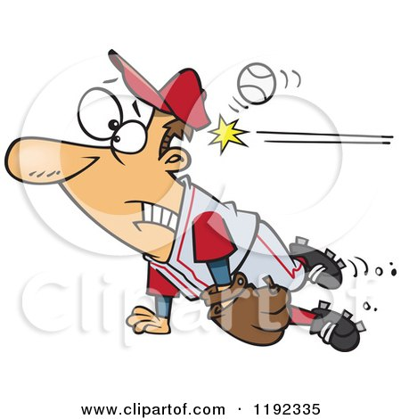 Cartoon of a Distracted Baseball Player Getting Whacked in the Head - Royalty Free Vector Clipart by toonaday
