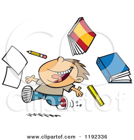 Cartoon of a Happy Boy Throwing Supplies on the Last Day of School - Royalty Free Vector Clipart by toonaday