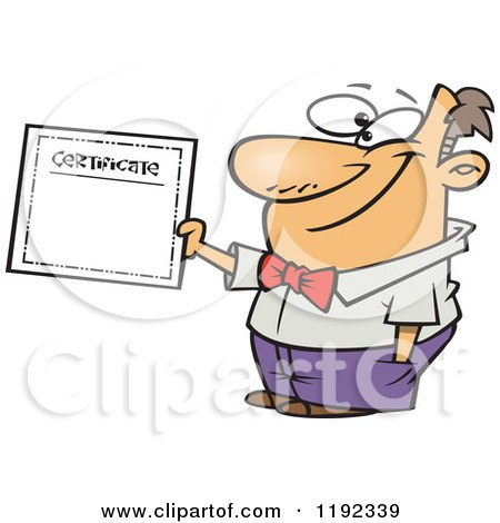 Cartoon of a Proud Man Holding a Certificate of Achievement - Royalty Free Vector Clipart by toonaday