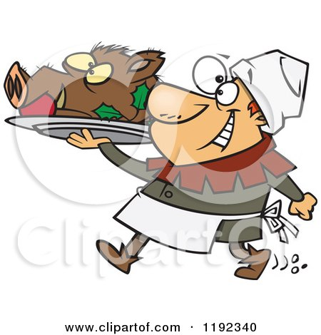 Cartoon of a Happy Castle Cook Chef Carrying a Pig Head on a Platter - Royalty Free Vector Clipart by toonaday