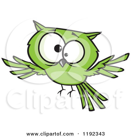 Cartoon of a Cross Eyed Green Owl Flying - Royalty Free Vector Clipart by toonaday