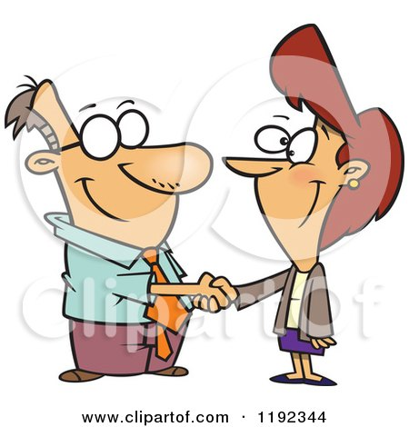 Cartoon of a Business Man and Woman Shaking Hands - Royalty Free Vector Clipart by toonaday