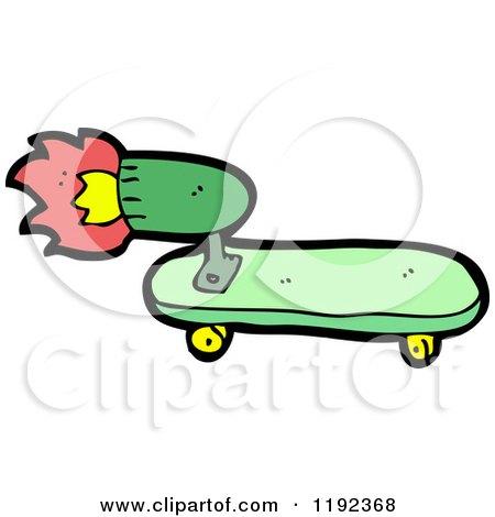 Cartoon of a Rocket Powered Skateboard - Royalty Free ...