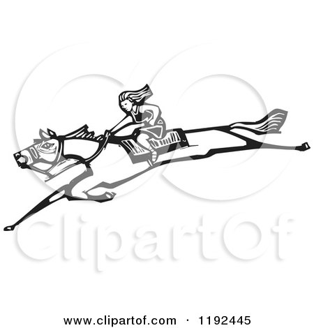 Clipart of a Lone Woman on a Leaping Horse Black and White Woodcut - Royalty Free Vector Illustration by xunantunich
