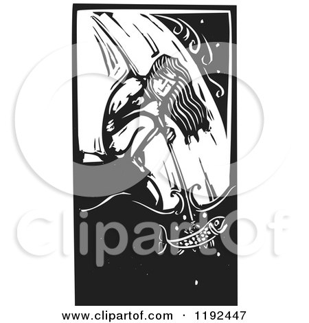 Clipart of a Crouching Native Man Spear Fishing at a Waterfall Black and White Woodcut - Royalty Free Vector Illustration by xunantunich
